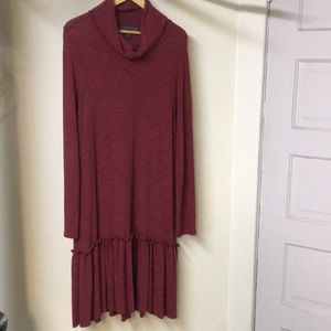 Anthropologie cowl neck dress with ruffled bottom.